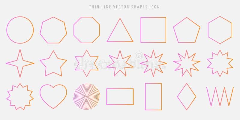 Den tunna linjen vektor formar symbolsuppsättningen cirkel fyrkant, triangel, polygon, stjärna, hjärta, spiral, romb, sicksacköve vektor illustrationer