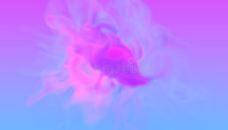 Den turbulenta virveln av färg för två neon röker cyan och violett i retro diskostil design för illustration 3D av futuristiskt stock illustrationer