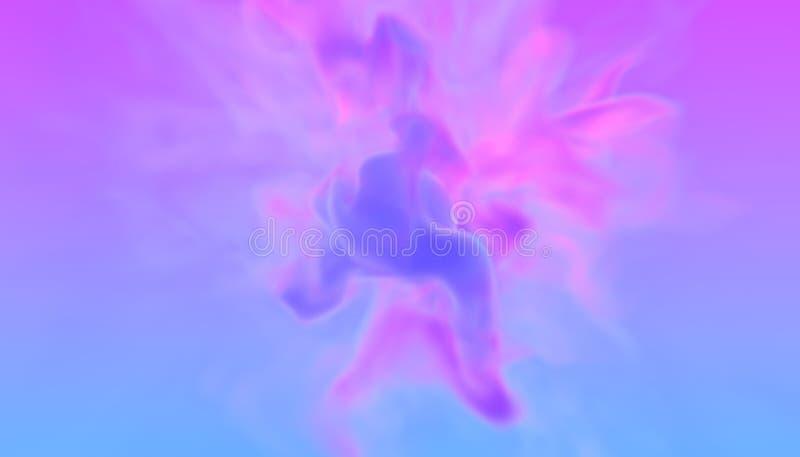 Den turbulenta virveln av färg för två neon röker cyan och violett i retro diskostil design för illustration 3D av futuristiskt vektor illustrationer