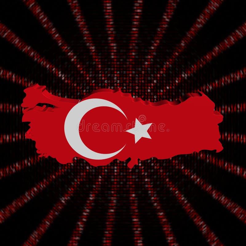 Den Turkiet översiktsflaggan på rött förhäxer kodbristningsillustrationen vektor illustrationer