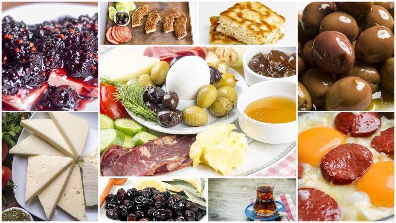 Den turkiska frukostcollaget royaltyfria foton