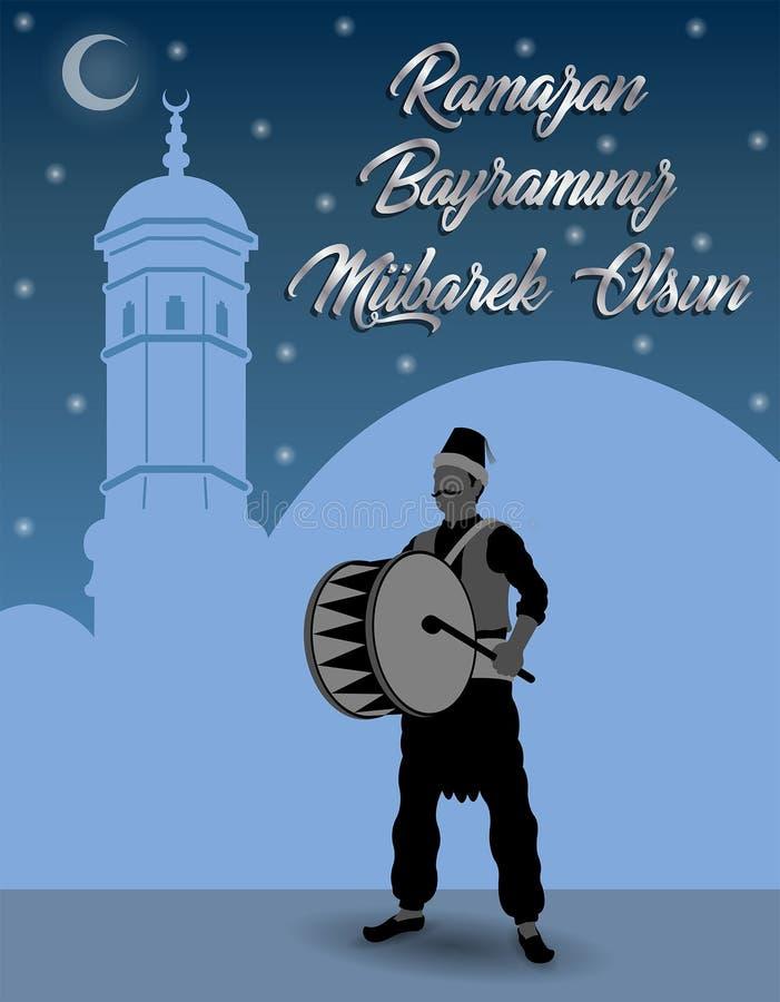 Den turkiska Ramadan önskar med Ramadan Drummer som är främst av blå himmel royaltyfri illustrationer