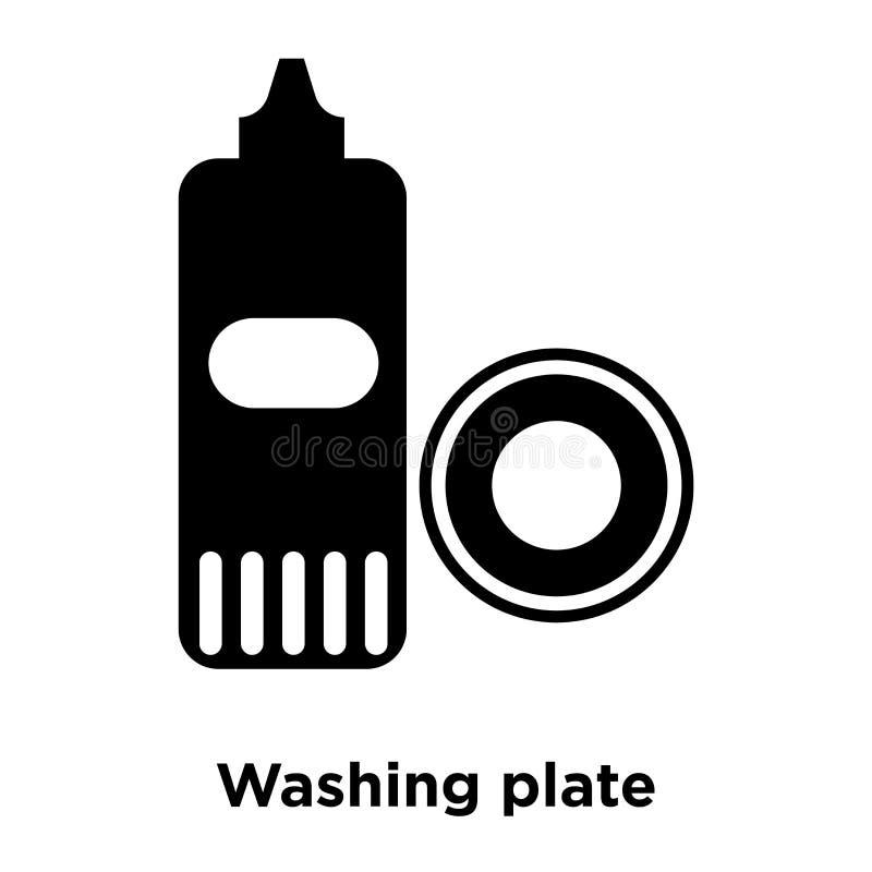 Den tvättande plattasymbolsvektorn som isoleras på vit bakgrund, logo lurar stock illustrationer