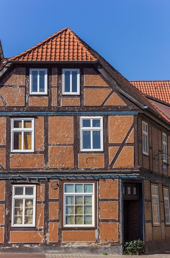 Den typiska tyska halvan timrade huset i den Hanseatic staden Stade royaltyfria foton