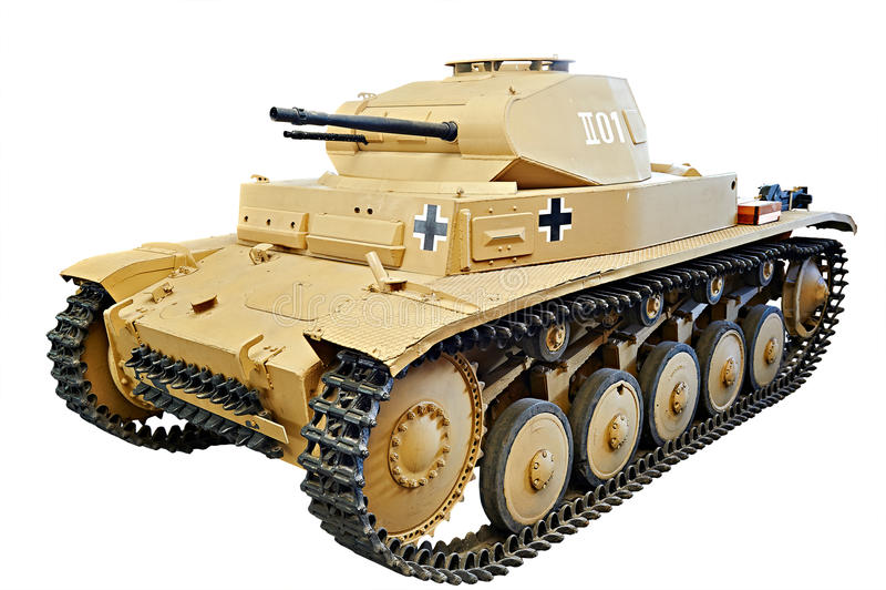 Den tyska ljusa behållaren Panzer II PzKpfw II isolerade vit royaltyfri bild