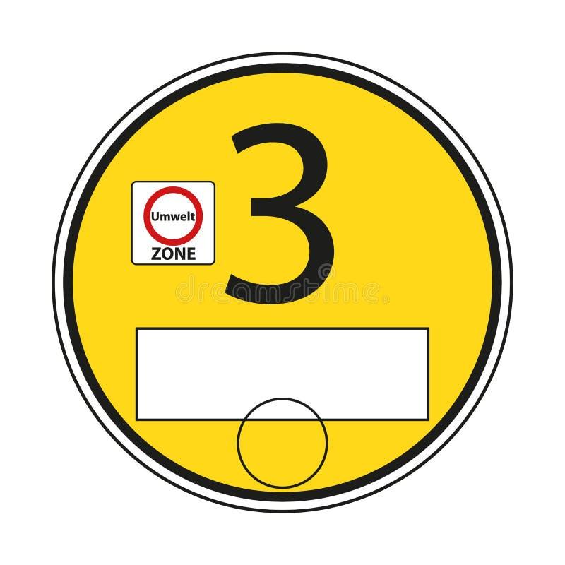 Den tyska miljö- etiketten, gulnar 3 - den Editiable vektorillustrationen vektor illustrationer