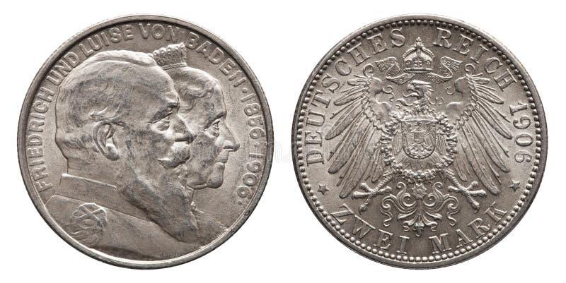 Den tyska väldeBaden 2 fläcken försilvrar mynttappning 1906 royaltyfria bilder