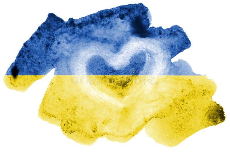 Den Ukraina flaggan visas i vätskevattenfärgstil som isoleras på vit bakgrund royaltyfri fotografi