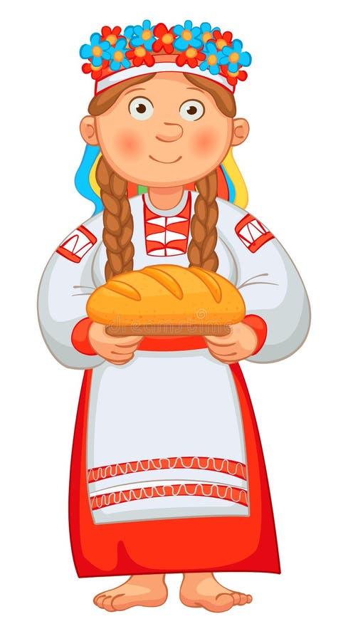 Den ukrainska flickan möter hedrade gäster med bröd royaltyfri illustrationer