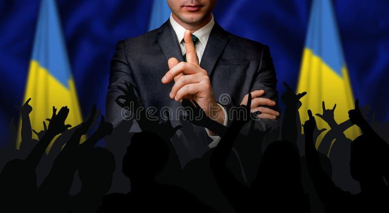 Den ukrainska kandidaten talar till folkfolkmassan royaltyfri bild