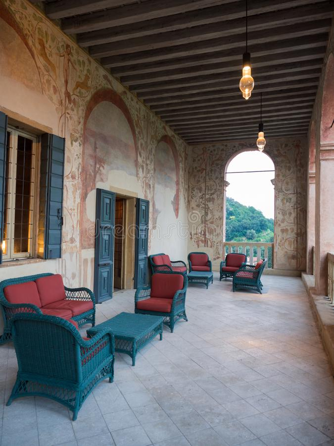 Den underbara utomhus- terrassen av villadeien Vescovi, ett Venetian R royaltyfria foton