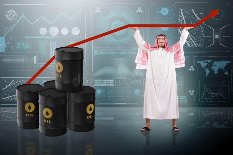 Den understödjande oljeprisen för arabisk affärsman vektor illustrationer