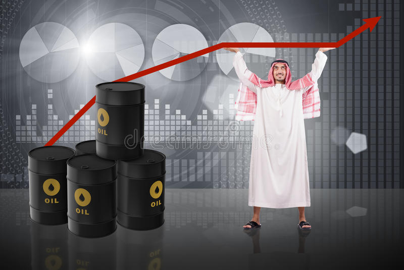 Den understödjande oljeprisen för arabisk affärsman stock illustrationer