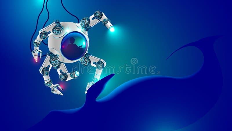 Den undervattens- roboten undersöker det djupa havet djup-vatten liten ubåt med robotic armar som fördjupas på havsbotten Man i b vektor illustrationer