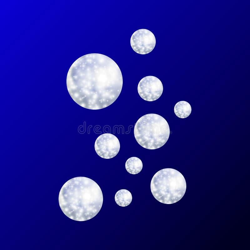 Den undervattens- vektorn bubblar 3D den färgrika illustrationen, ljus blå bakgrund, begrepp för det djupa havet royaltyfri illustrationer