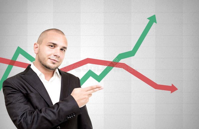 Den unga affärsmannen visar riktningen av investeringar arkivfoto