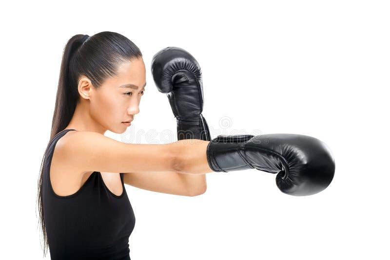 Den unga asiatiska kvinnan i profil i svarta boxninghandskar slår royaltyfri bild