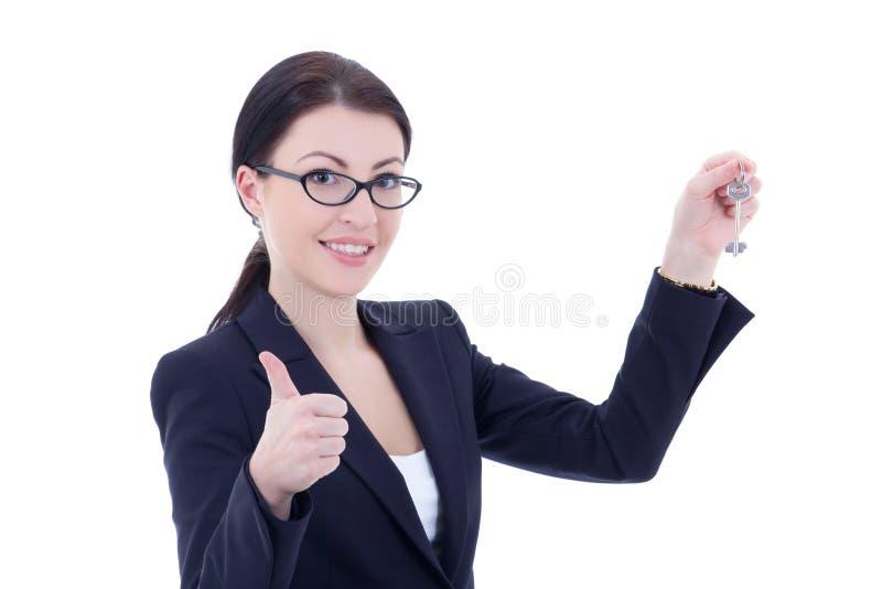 Den unga attraktiva affärskvinnan med tangent i hand tummar upp isola royaltyfri bild