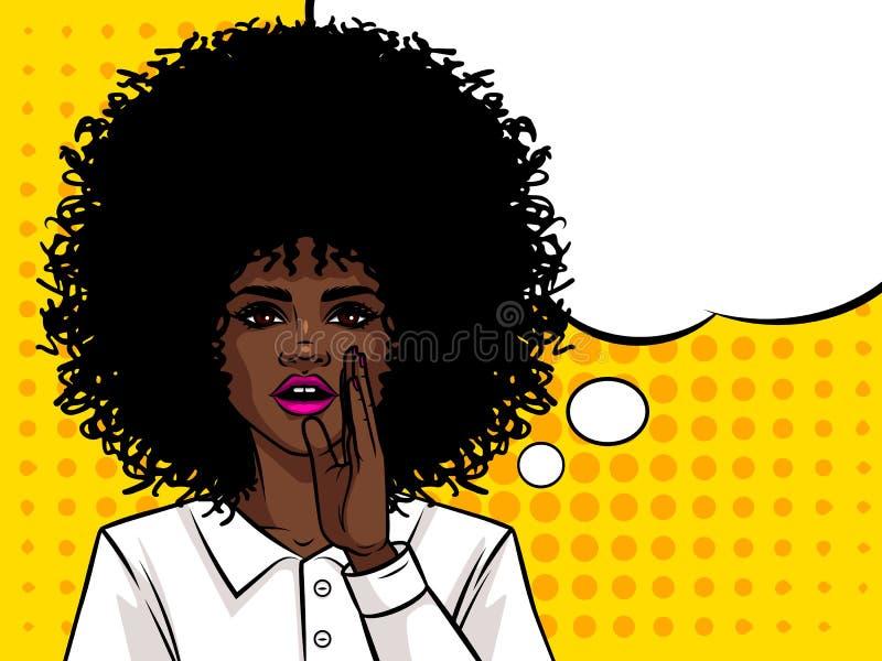Den unga attraktiva afro- amerikanska flickan önskar att berätta en hemlighet stock illustrationer