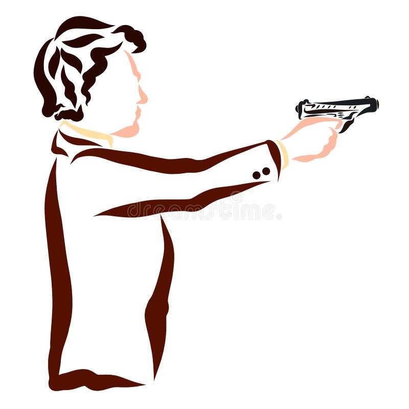 Den unga attraktiva mannen i ett affärsomslag skjuter en pistol royaltyfri illustrationer