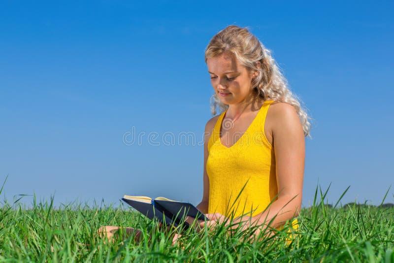 Den unga blonda holländska kvinnan läser boken i gräs arkivbild