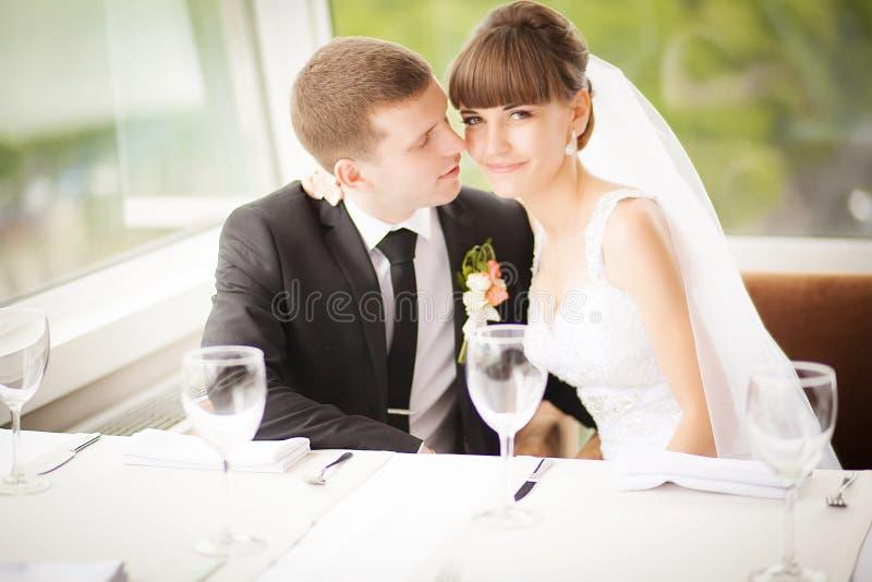 Den unga bröllopcaucasianen kopplar ihop Brudgum och brud tillsammans arkivbild