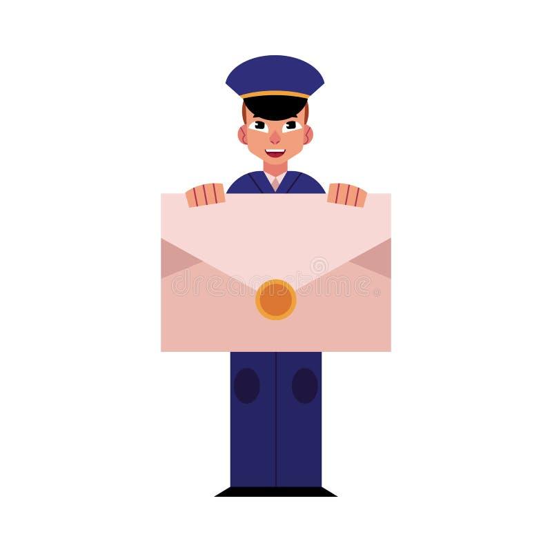 Den unga brevbäraren i blå likformig rymmer det stora kuvertet främst av hans bröstkorg som isoleras på vit bakgrund royaltyfri illustrationer