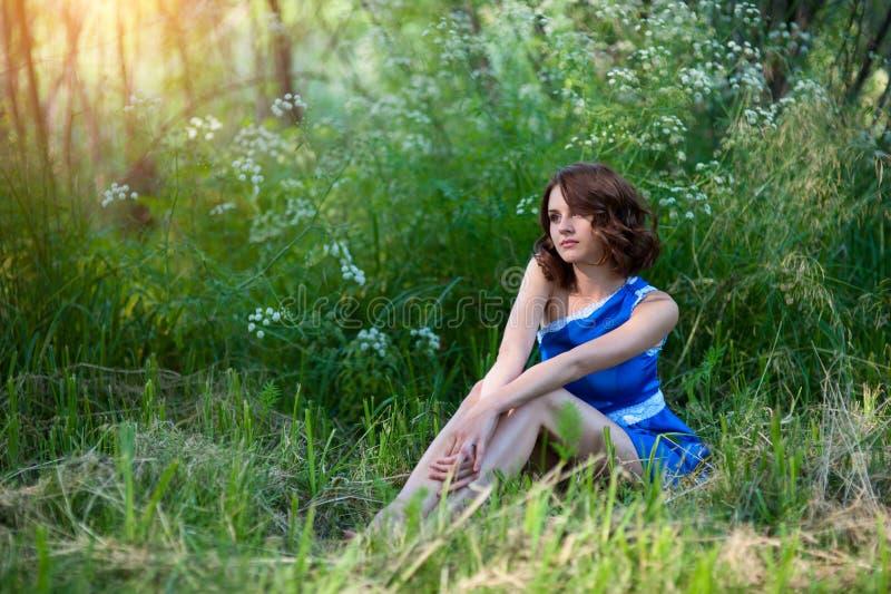 Den unga brunettflickan i blåttklänningen som poserar att ligga på gräs i sommar, parkerar arkivbilder