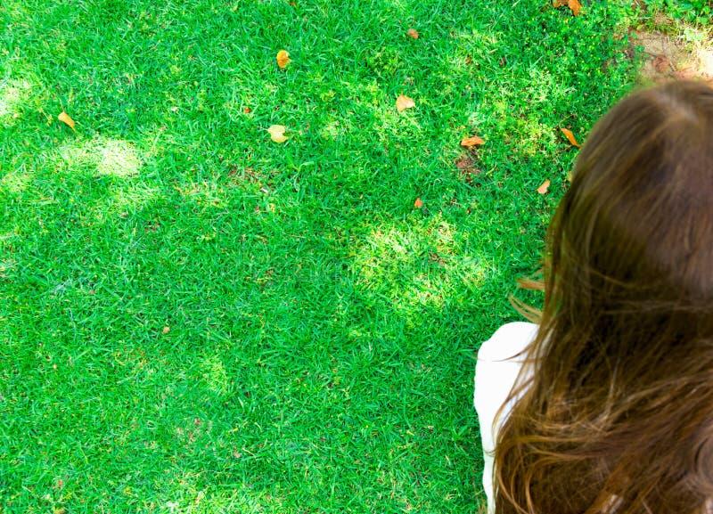 Den unga caucasian kvinnaflickan med långt kastanjebrunt hår sitter på nytt grönt gräs på ljus dag för indisk sommar med tillbaka arkivfoto