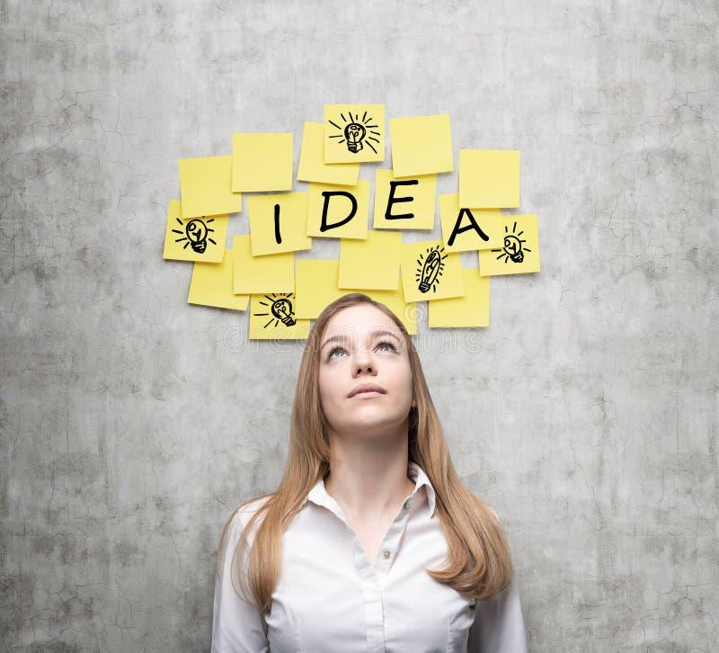Den unga damen söker efter nya affärsidéer Gula klistermärkear med ordet 'idé' och skissar av' ljusa kulor 'är H royaltyfri fotografi
