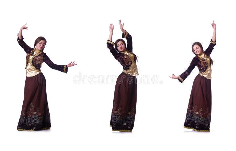 Den unga damen som dansar traditionell azeri dans royaltyfria foton