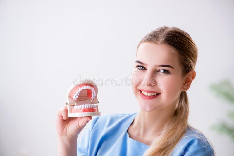 Den unga doktorssjuksköterskan med tandproteser fotografering för bildbyråer