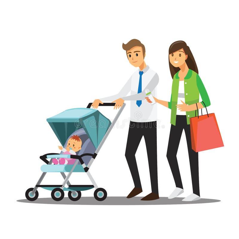 Den unga familjen med behandla som ett barn i sittvagnen, vektorillustrationtecknad film vektor illustrationer