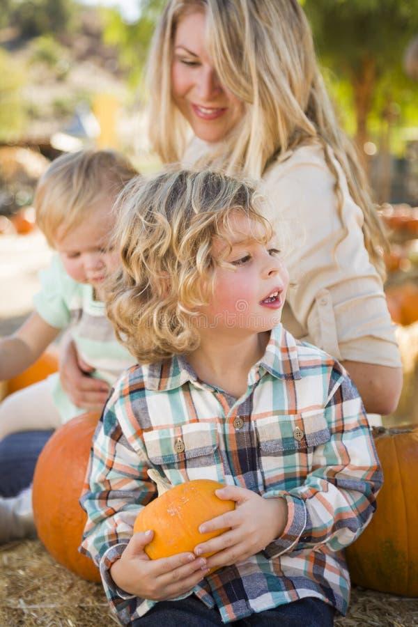 Den unga familjen tycker om en dag på pumpalappen royaltyfria bilder