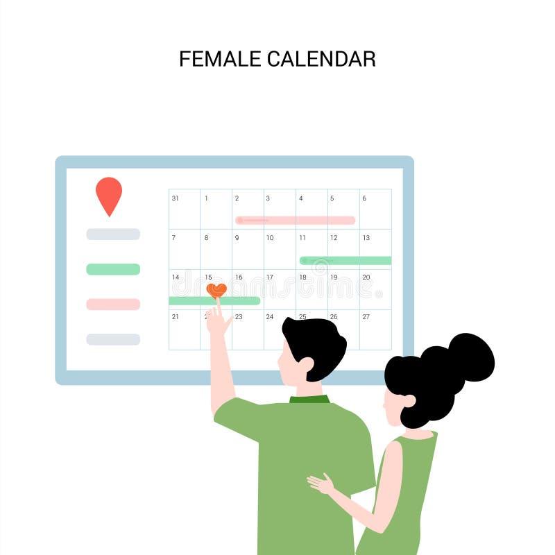 Den unga familjen väljer datumet Planläggning för havandeskap royaltyfri illustrationer