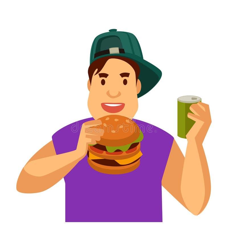 Den unga grabben äter snabbmat, och drinksodavatten kan in royaltyfri illustrationer