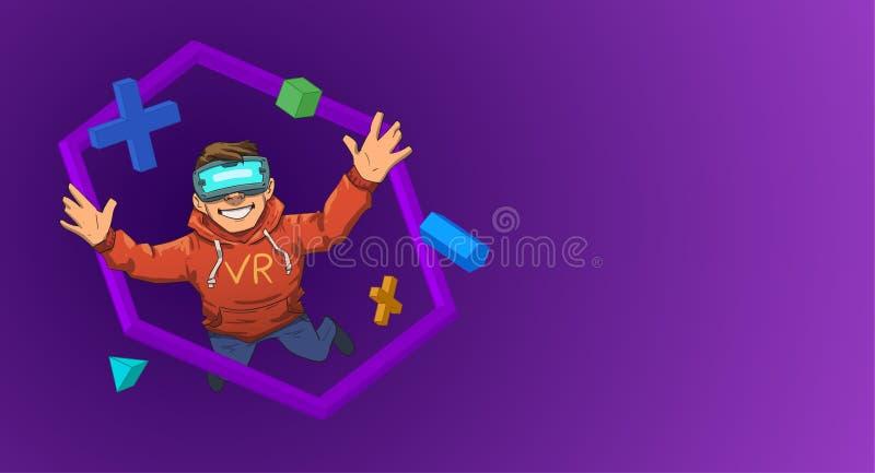 Den unga grabben i VR-hörlurar med mikrofonflyg bland 3D anmärker på svart bakgrund Lycklig unge i virtuell verklighet Färgrik pl vektor illustrationer