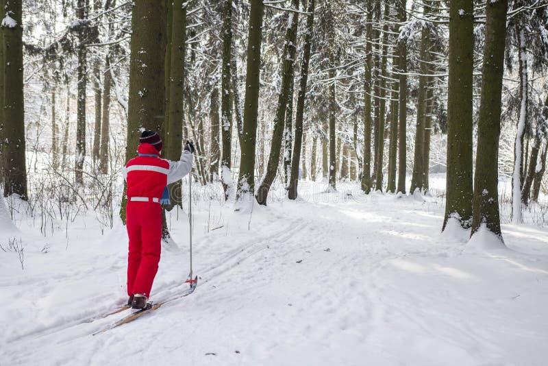 Den unga grabben skidar i en snöig skogaktiv vilar i vinter den kiting floden skidar snöig sportvinter Skidåkare i skogsmarken fotografering för bildbyråer
