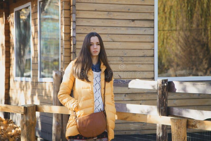 Den unga härliga flickan står nära trästaketet i stadszoo fotografering för bildbyråer
