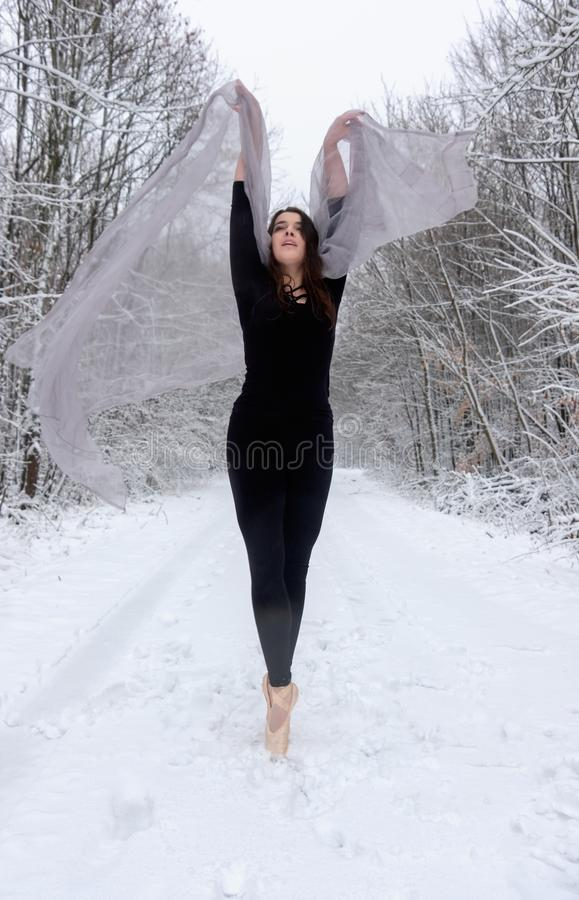 Den unga härliga kvinnaflickan i snöig vinterskog sträcker och tådansen arkivbild