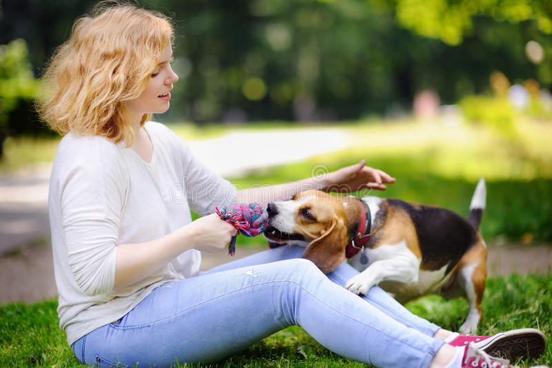 Den unga härliga kvinnan med beaglehunden i sommaren parkerar royaltyfri fotografi