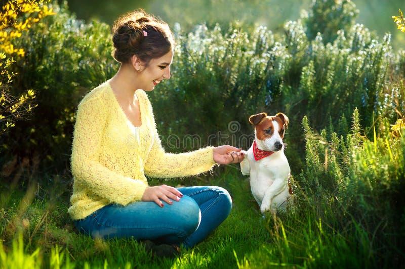 Den unga härliga kvinnan rymmer en hand över den älsklings- hunden som ` s tafsar på en bakgrund av vårträd fotografering för bildbyråer