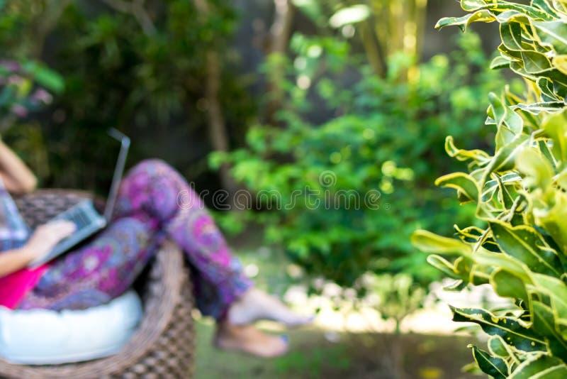 Den unga härliga kvinnan som arbetar med bärbara datorn på utomhus- tropiskt, parkerar, leendet och lycklig avslappnande känsla i fotografering för bildbyråer
