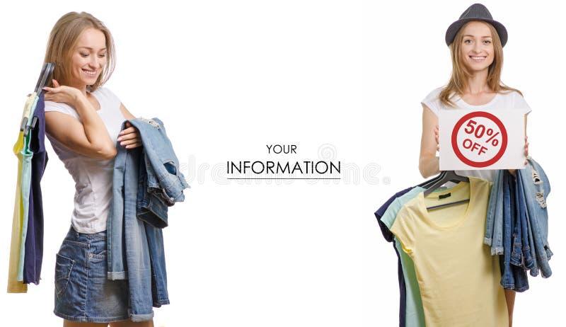Den unga härliga kvinnasamlingen i händerna av sakert-skjortan jeans som säljer modellen för rabattmodediversehandel, ställde in fotografering för bildbyråer
