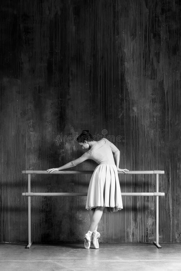 Den unga h?rliga ballerina poserar i studio arkivfoton