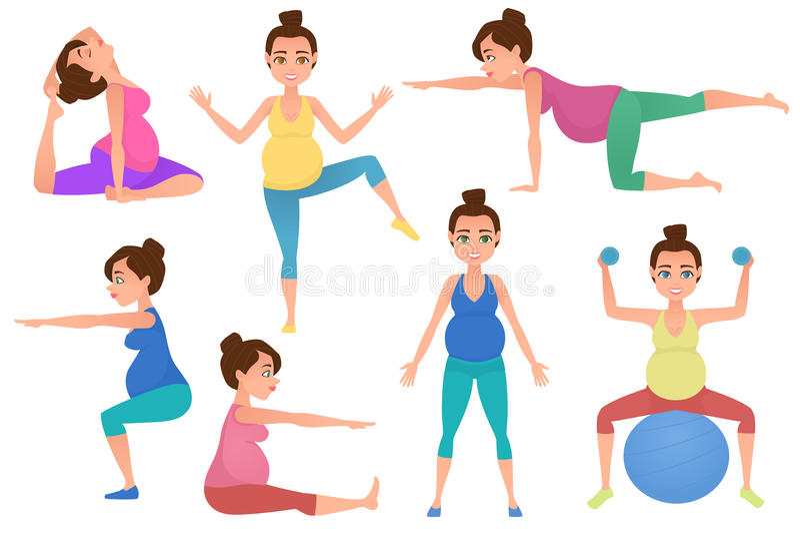 Den unga havandeskapkvinnameditationen i yoga poserar royaltyfri illustrationer