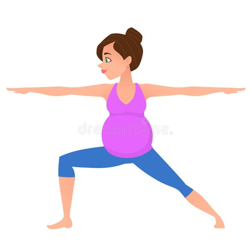Den unga havandeskapkvinnameditationen i yoga poserar vektor illustrationer