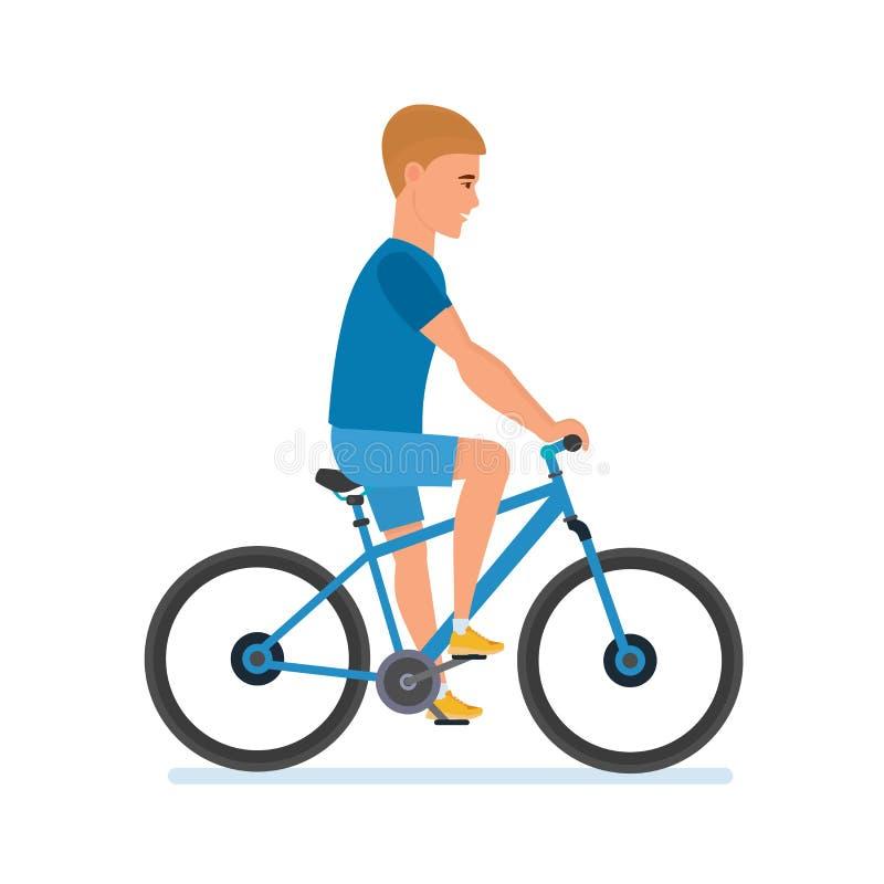 Den unga idrottsman nen går ritter cyklar, lopp, rullar omkring staden stock illustrationer