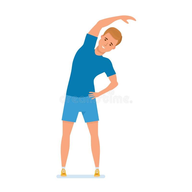 Den unga idrottsman nen gör fysiska övningar, terapeutisk gymnastik, sluttning att sid stock illustrationer