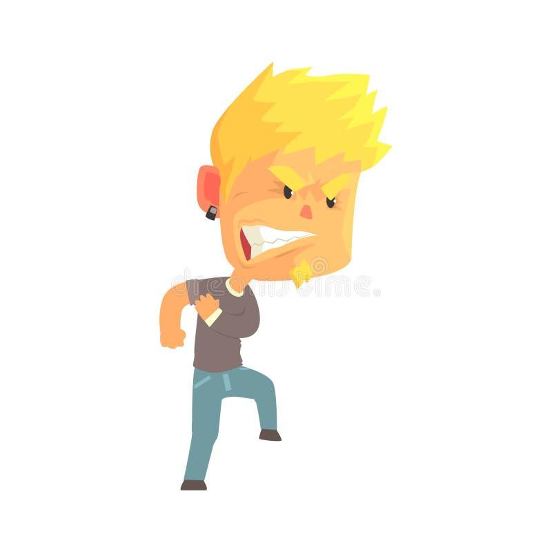 Den unga ilskna mannen med aggressiva ansiktsuttryck, misströstar den rasande illustrationen för vektorn för persontecknad filmte royaltyfri illustrationer